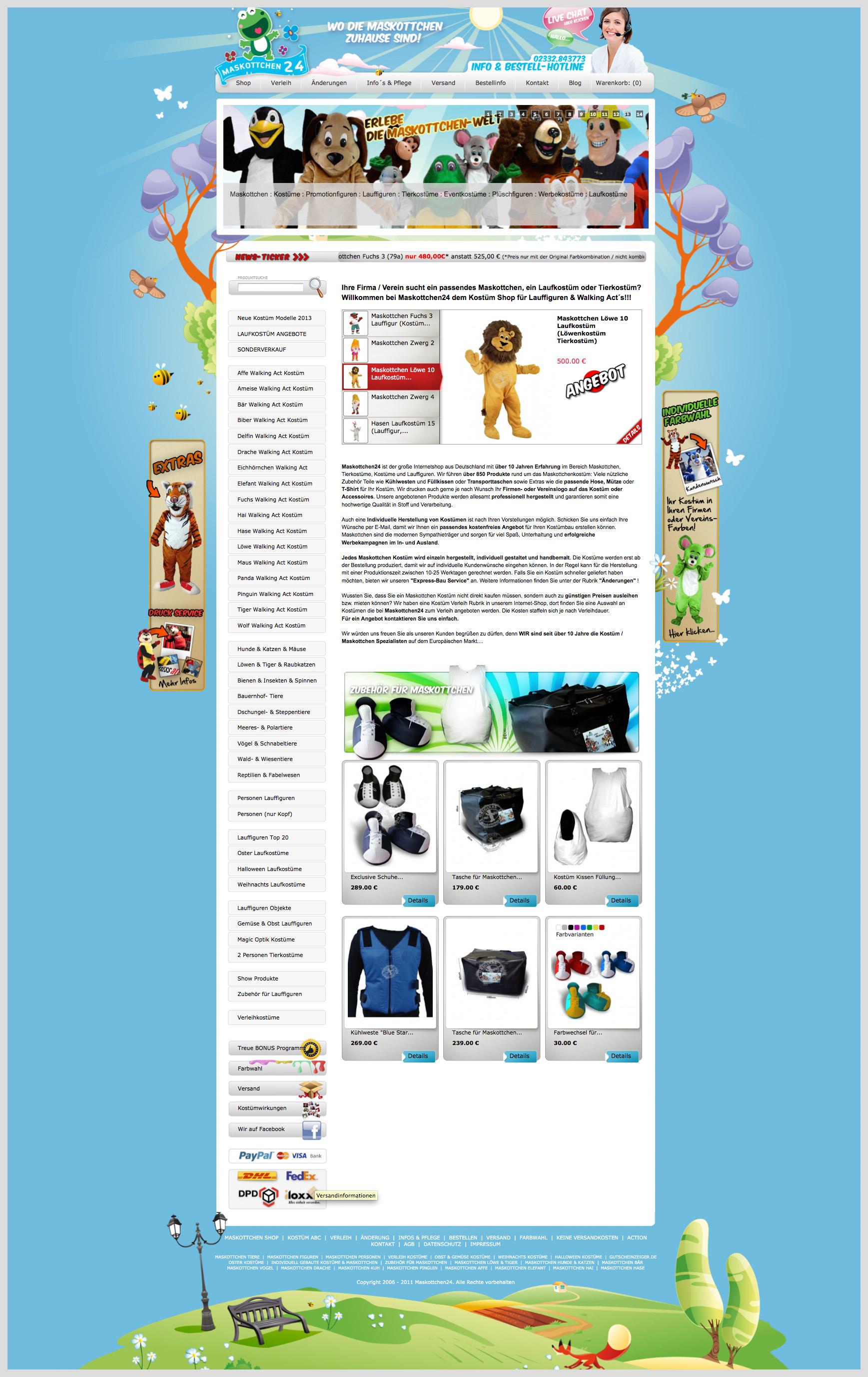 Maskottchen Kostüm Shop Walking Act Figuren Laufkostüme zu günstigen Preisen auch als Verleih Miet Kostüme