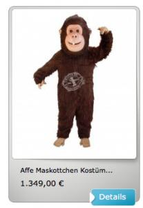 Maskottchen-Kostüm-Affe