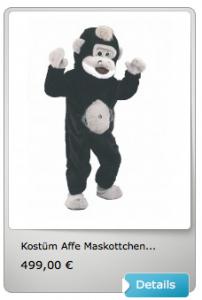 Maskottchen-Kostüm-Affen