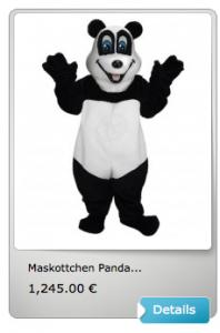 Panda-Kostüme-Lauffiguren