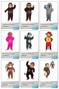 Kostüm-Affe-Maskottchen