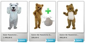 3p-Bär-Kissen-Kostüm-Maskottchen