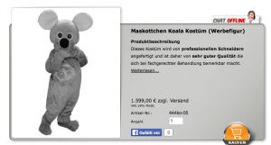 Koala-Kostüm-Lauffiguren