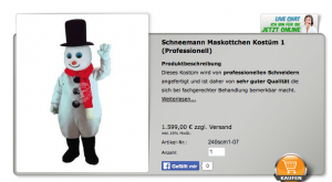 Schneemann-Kostüm-Lauffiguren