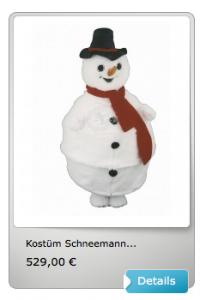 Schneemann-Kostüm-Maskottchen-Lauffigur