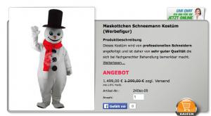 Schneemann-Kostüme-Maskottchen