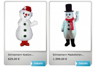 Schneemanner-Kostüme